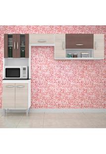 Cozinha Compacta 3 Peças Manuela - Poquema - Amendoa / Capuccino