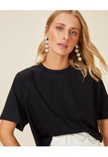 Amaro Feminino T-Shirt Ampla Manga Raglan, Preto