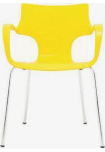 Cadeira Jim Base Fixa Cromado Cor Amarelo - 10327 Sun House