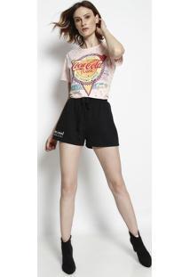 "Camiseta ""Coca-Colaâ®""- Rosa & Amarela- Coca-Colacoca-Cola"