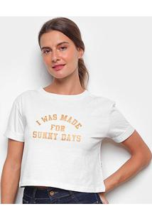 Camiseta Cropped Billabong Sunny Days Feminina - Feminino-Off White