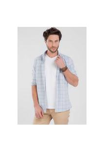 Camisa Cm0020 Slim Traymon Xadrez Azul Claro