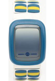 Relógio Digital Com Relevo Suvw100B- Branco & Azul- Swatch