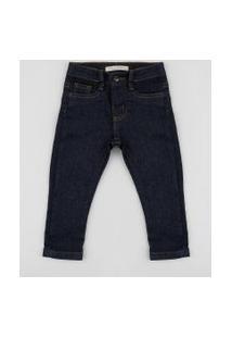Calça Jeans Infantil Slim Com Bolsos Azul Marinho