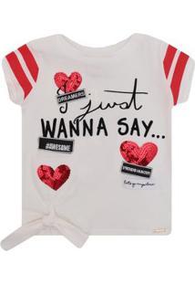 Blusa Infantil Animê Cotton Bordada Coração Feminino - Feminino
