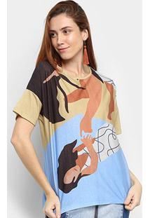 Camiseta Cantão Estampada Manga Curta Feminina - Feminino-Laranja