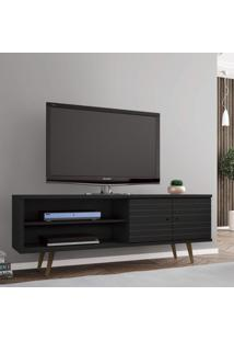 Rack Para Tv Até 60 Polegadas 2 Portas Retrô Ônix Móveis Bechara Preto Fosco