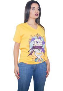 Camiseta Stooge Third Eyed Skeleton Amarela