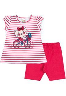 Conjunto Infantil Pulla Bulla Cotton Feminino - Feminino-Vermelho