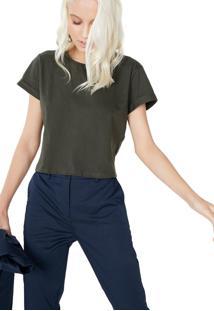 T-Shirt Amaro Cropped Sustentã¡Vel Militar - Verde - Feminino - Dafiti