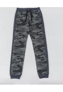 Calça Juvenil Em Moletom Estampada Camuflada Com Recorte Cinza Mescla Escuro