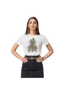Camiseta Basica Joss Caveira Floral Branca