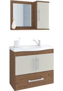 Gabinete Suspenso Para Banheiro Atenas 56,5X63,5Cm Amêndoa E Off White