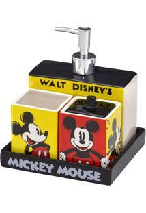 Jogo Para Banheiro Mickey® - Preto & Amarelo - 4Pçs