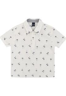 Camisa Bata Infantil 1Mais1 Coqueiros Masculino - Masculino-Bege