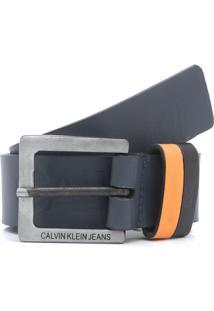 Cinto Couro Calvin Klein Jeans Logo Azul-Marinho