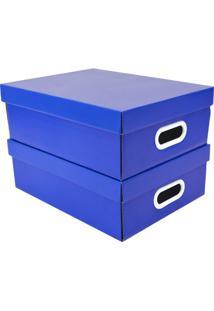 Jogo De Caixas Organizadoras Stok- Azul & Branco- 2Pboxmania