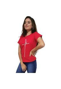 Camiseta Feminina Cellos Fé Premium Vermelho