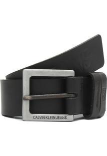 Cinto Couro Calvin Klein Jeans Logo Preto - Kanui