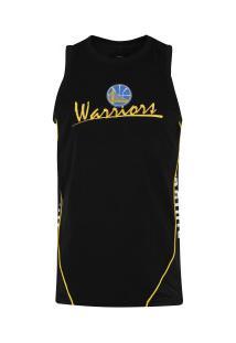 Camiseta Regata New Era Golden State Warriors Piping V Cut - Masculina - Preto