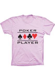 Camiseta Baby Look Lu Geek Poker Player Rosa