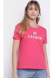 Camiseta T-Shirt Carmim Estampada Manga Curta Feminina - Feminino-Pink