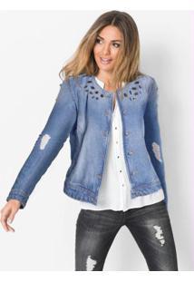 Jaqueta Jeans Com Pedrarias Azul