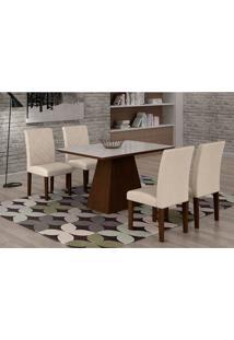 Conjunto De Mesa De Jantar Luna Com Vidro E 4 Cadeiras Ane Ii Veludo Castor E Branco
