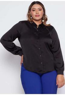 Camisa Almaria Plus Size Pianeta Básica Cetim Pret
