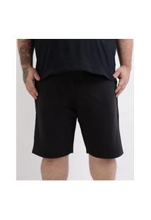 Bermuda De Moletom Masculina Plus Size Com Bolso Preta