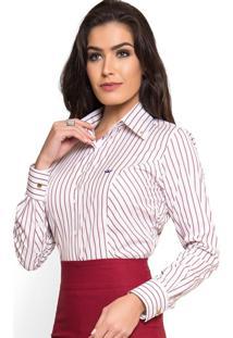 Camisa Social Premium Listrada Principessa Mila Branco Marsala 36eb786c53