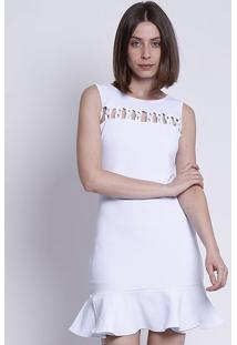 Vestido Com Vazados - Brancomoiselle