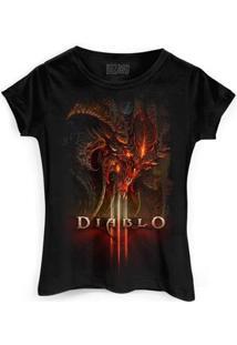 Camiseta Bandup! Diablo Iii Head - Feminino-Preto