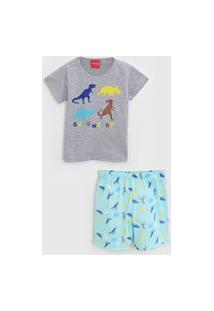 Pijama Tricae Curto Infantil Dinossauro Cinza/Verde