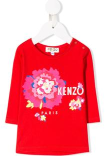 Kenzo Kids Blusa Floral Com Logo - Vermelho