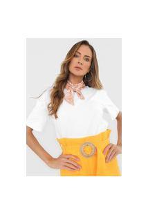 Camiseta Lança Perfume Lenço Branca/Laranja
