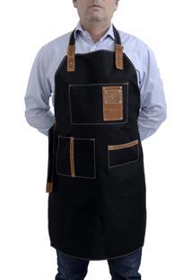 Avental Para Churrasco E Cozinheiro Com 3 Bolsos Em Couro E Lona Hylberman Preto