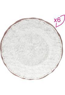 Jogo De Pratos Para Sobremesa Texturizados- Branco & Marrojemac
