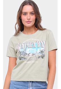 Camiseta Lecimar Bordada Waimea Bay Feminina - Feminino-Verde