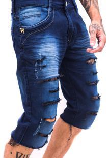 Bermuda Rich Young Rasgada Jeans Azul - Azul - Masculino - Dafiti