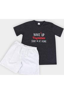 Pijama Infantil Candy Kids Wake Up Masculino - Masculino-Preto