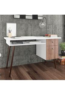 Mesa Para Computador Com 1 Gaveta E 1 Porta Retrô 3067 - Movelbento - Rustico / Branco