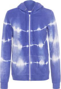 Casaco Feminino De Moletom Aberto Tie Dye - Azul
