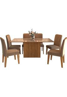 Sala De Jantar Ana 180Cm Com 6 Cadeiras Savana/Off White Pluma