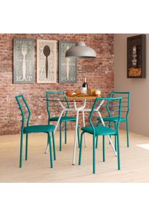 Conjunto De Mesa 1527 Vidro Incolor Branco Com 4 Cadeiras 1716 Casual Turquesa