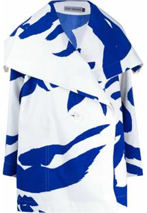 Issey Miyake Casaco Desconstruído - Azul