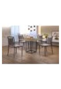 Conjunto De Mesa De Jantar Hera Com Tampo Siena E 4 Cadeiras Grécia Ii Linho Bege E Grafite