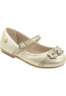 Sapato Infantil Metalizado Flores Pé Com Pé 29207