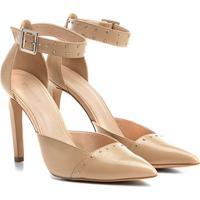 74c7e56cf5 Scarpin Couro Shoestock Salto Alto Rebites