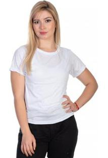 Camiseta Lisa Gola Careca Manga Curta Básica Selten Feminina - Feminino-Branco